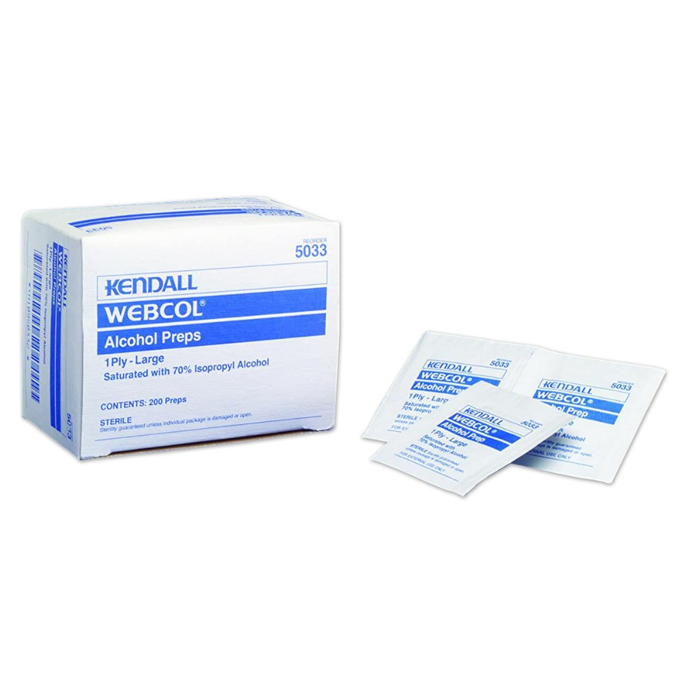 "Alcohol Prep Wipes 1.75""L x 1.75""W - 200 per Box"