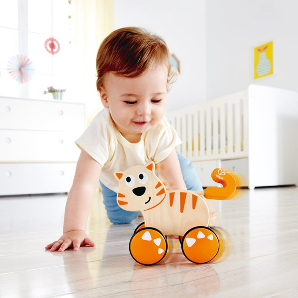 Alternate Image #1 of Wooden Toddler Wobble Kitten Push & Go