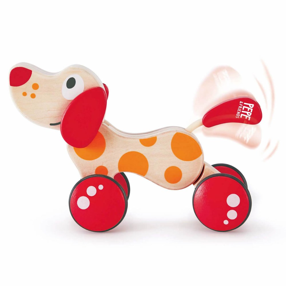 Wooden Walk-A-Long Rolling Puppy Pull Along