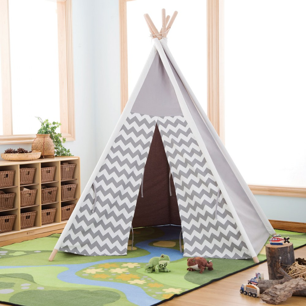 Alternate Image #5 of Easy View Foldable Gray and White Canvas Tent