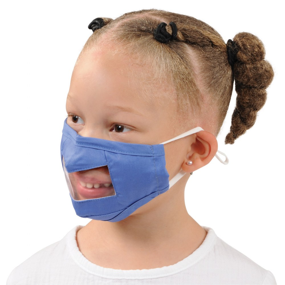 Alternate Image #3 of Clear Child Face Mask - Set of 5 Blue Masks