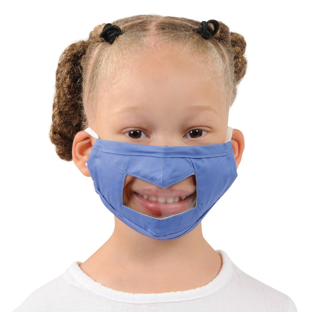 Alternate Image #4 of Clear Child Face Mask - Set of 5 Blue Masks
