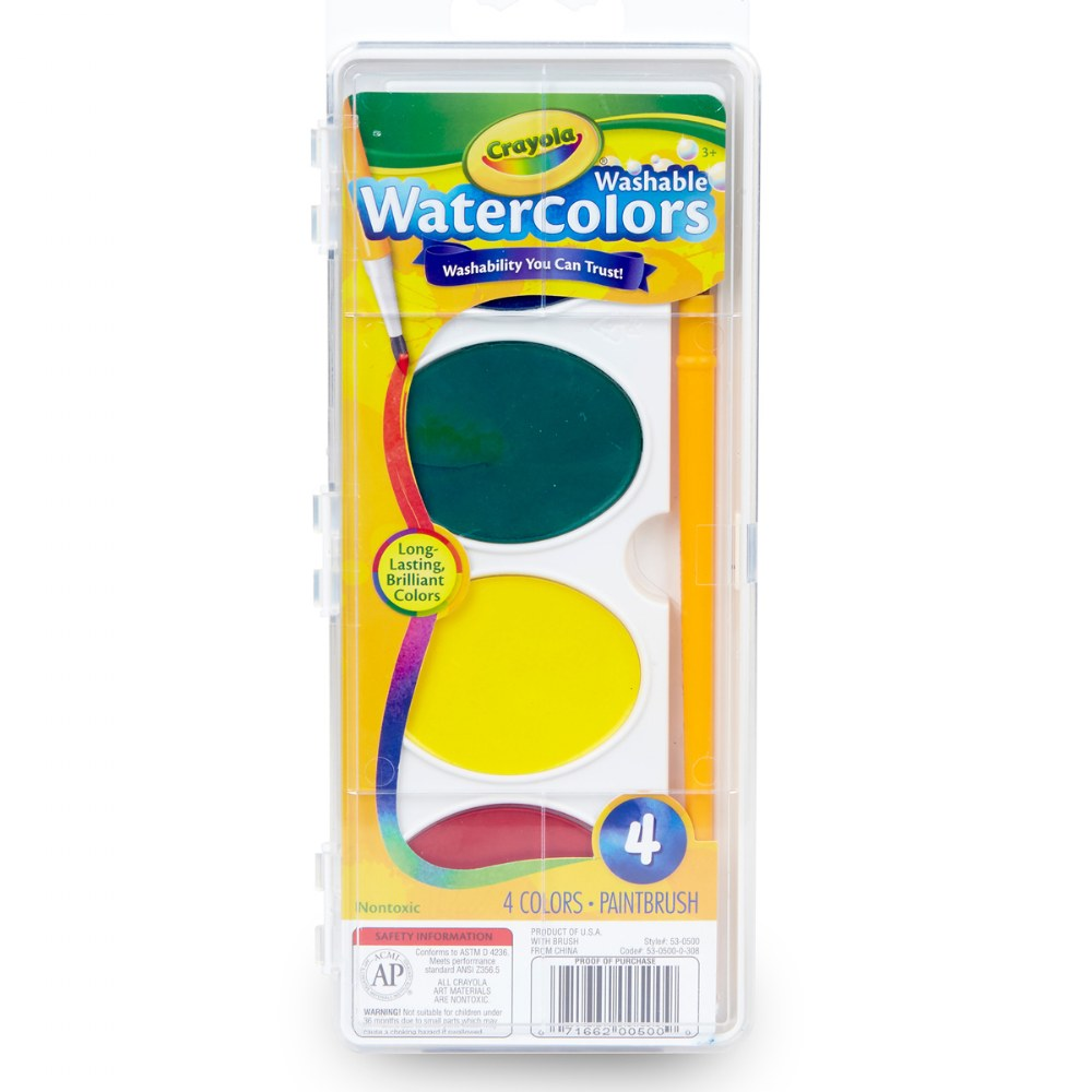 4 Ct Jumbo Washable Watercolors with Brush