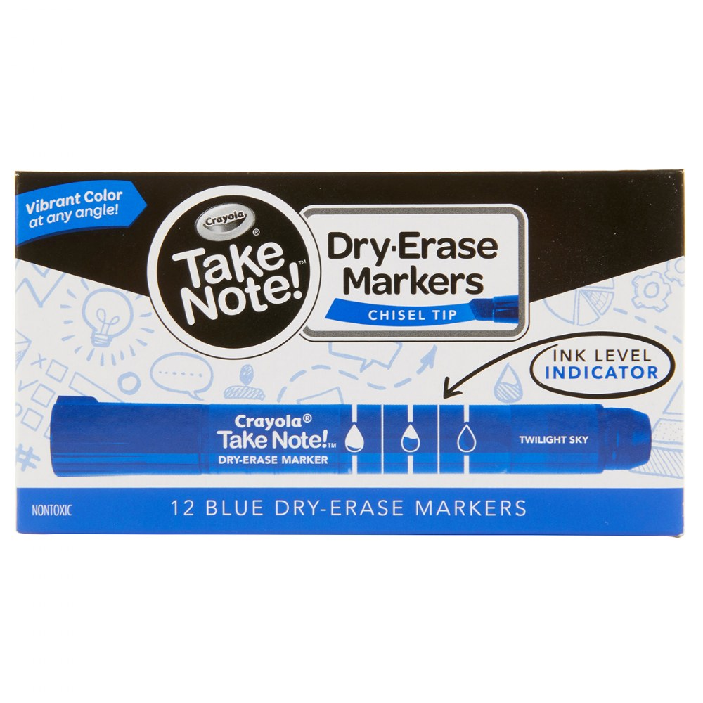 Alternate Image #2 of Take Note Dry Erase Broad Line Markers - Blue - Set of 12
