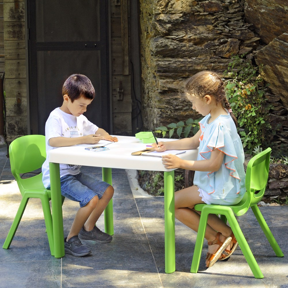 Alternate Image #3 of Ergos Green Table with 4 Chairs