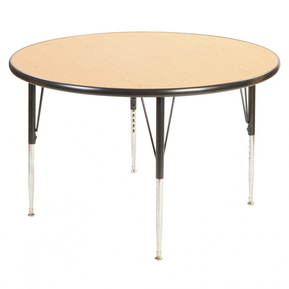 "48"" Round Golden Oak Adjustable Table - Seats 4"