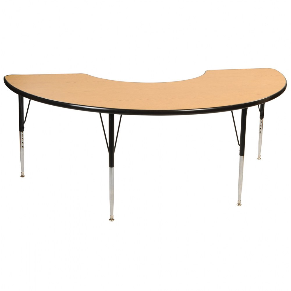 "36"" x 72"" Golden Oak Adjustable Half Moon Table - Seats 4"