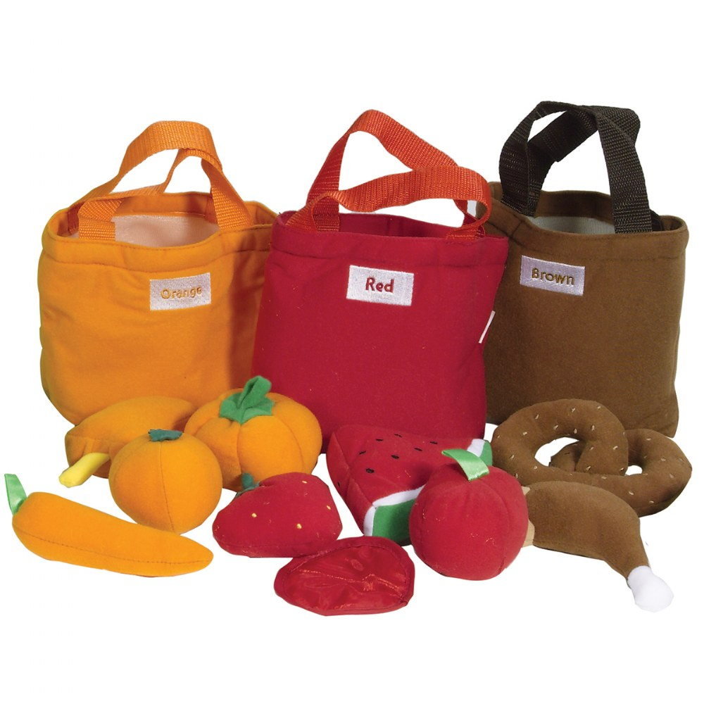 Alternate Image #1 of Soft Sorting Fruit and Food Pretend Play Bags