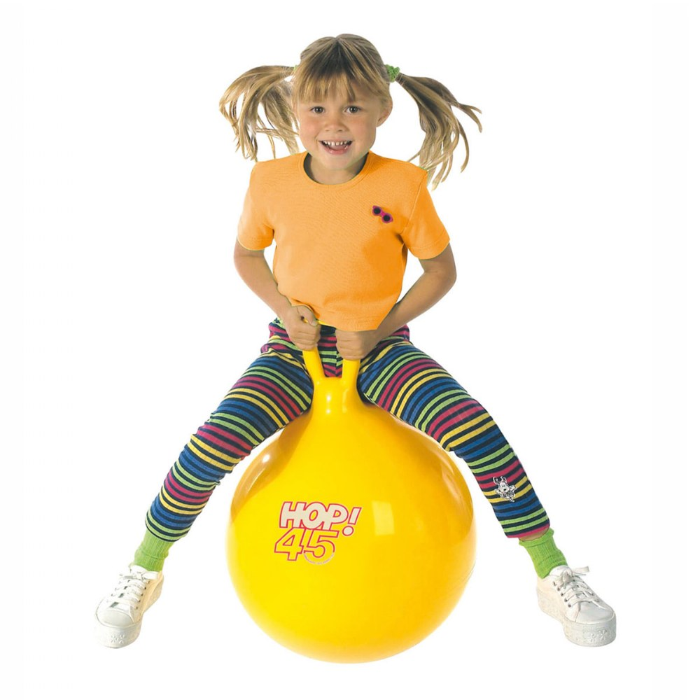 "Alternate Image #1 of Children's Bouncing Hop 45 Ball Yellow 18"" diameter"