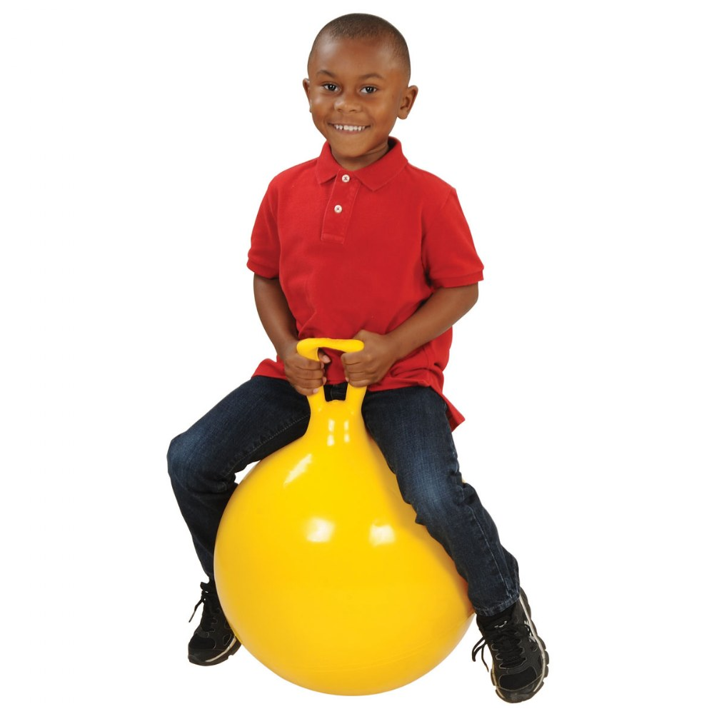 "Alternate Image #2 of Children's Bouncing Hop 45 Ball Yellow 18"" diameter"