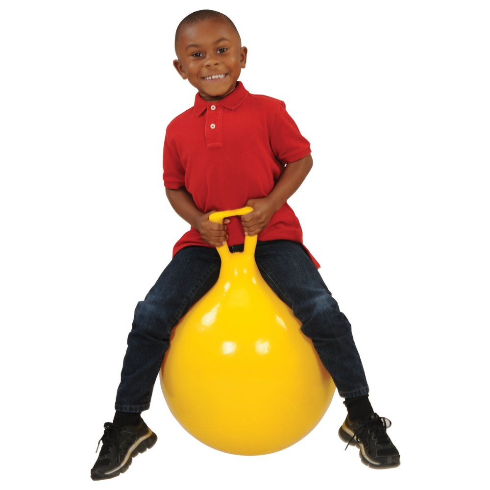 "Alternate Image #3 of Children's Bouncing Hop 45 Ball Yellow 18"" diameter"