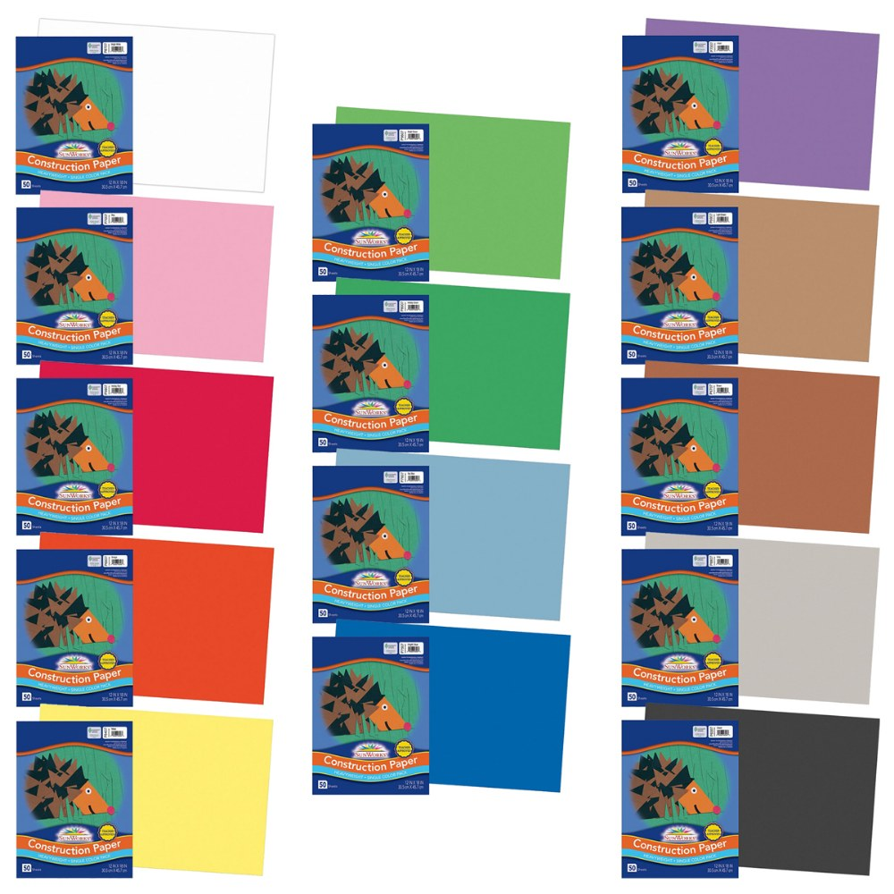 "Alternate Image #1 of Construction Paper Assorted Colors 50 Sheet Packs 12"" x 18"" - 700 Sheets Total"