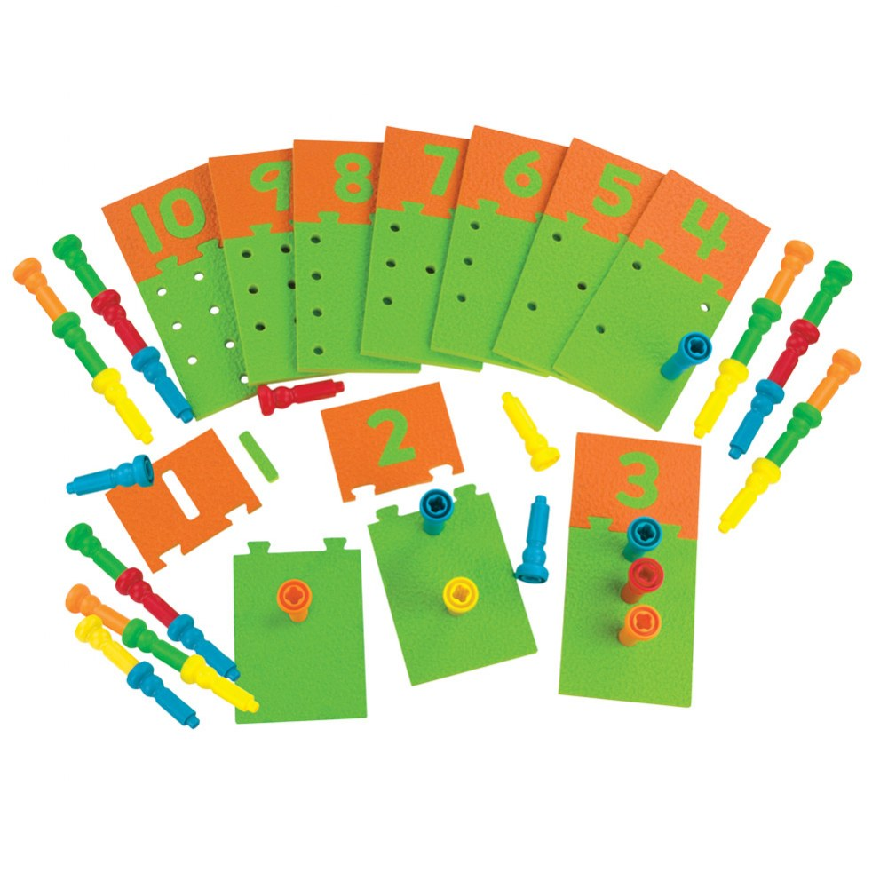 Alternate Image #1 of Number Puzzle Board & Pegs For Early Number Recognition