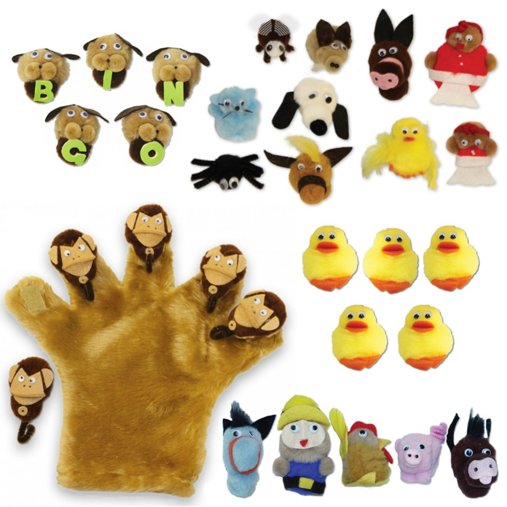 Hand Mitt & 5 Sets of Finger Puppet Characters