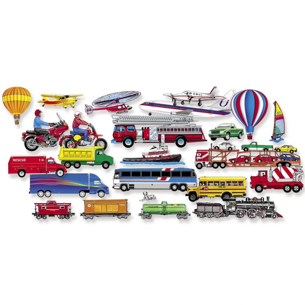 Trucks, Trains & Planes Pre-Cut Felt Set - 24 Piece Set