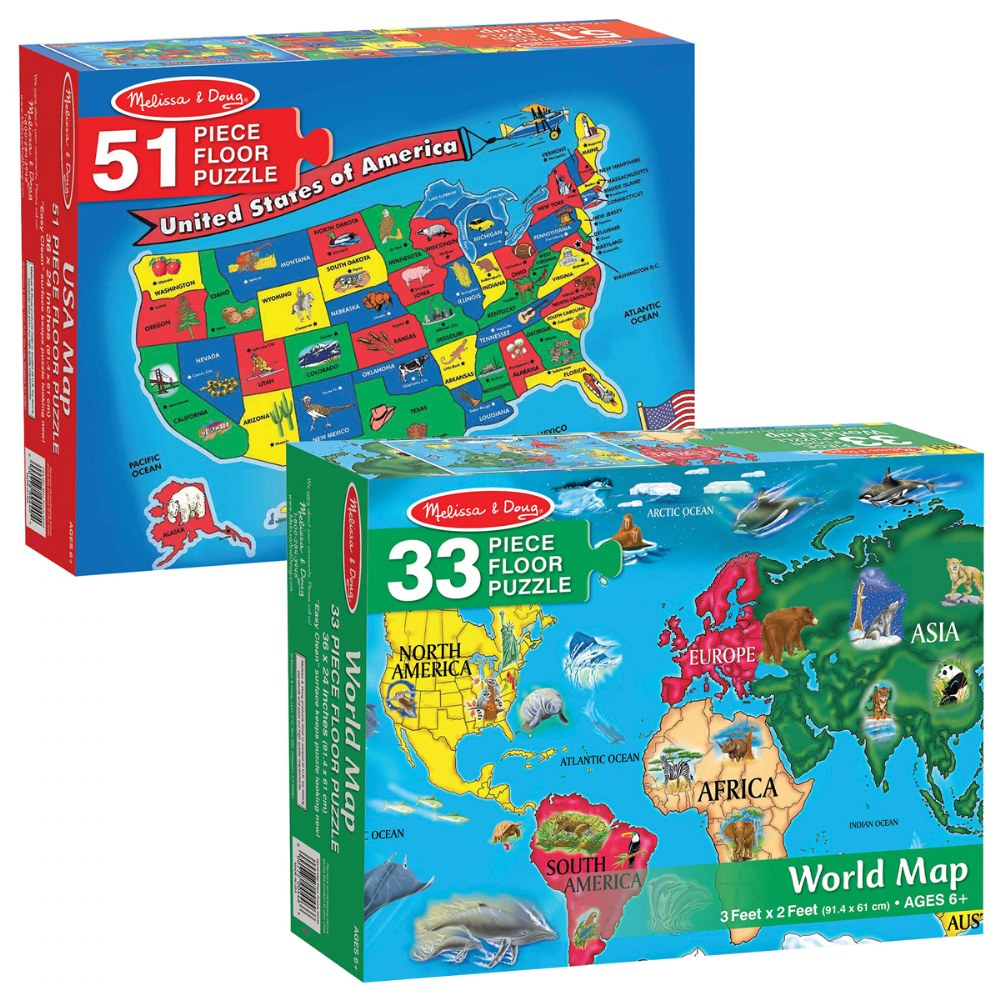 World & US Floor Puzzles