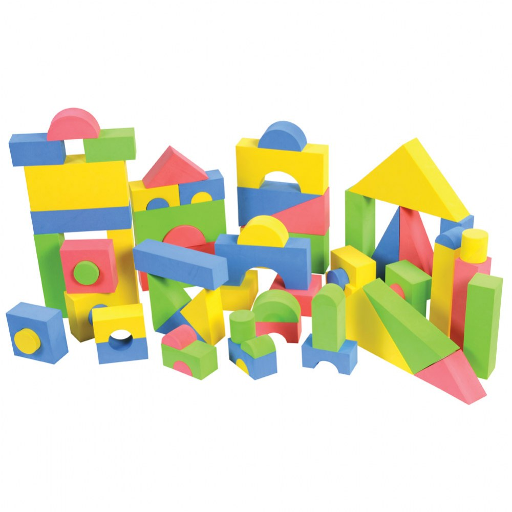 Color Soft Foam Building and Stacking Blocks - 68 Piece Set