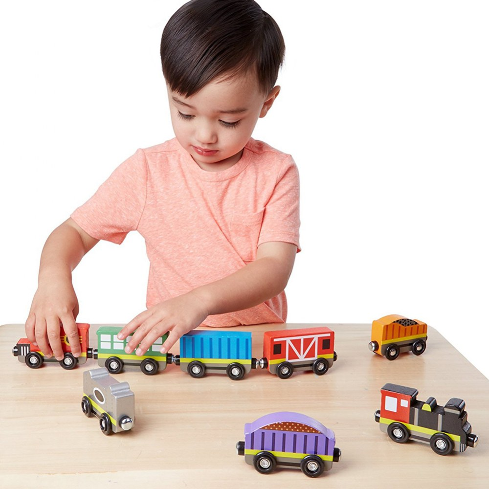 Wooden Magnetic Train Cars - Set of 8