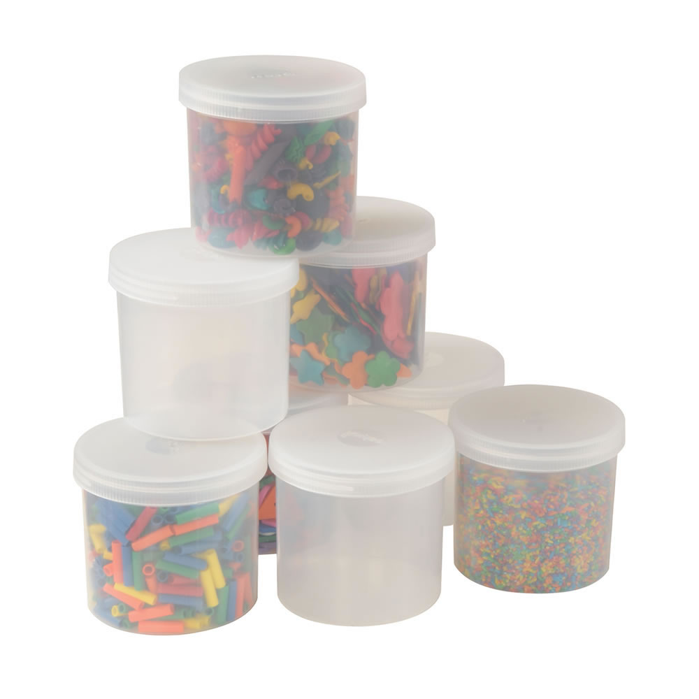 8 Clear Plastic Jars with Lids