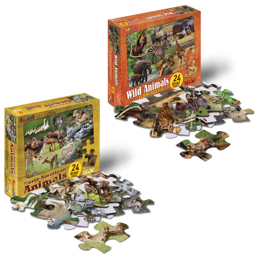 Wild and North American Animals Floor Puzzles - Set of 2