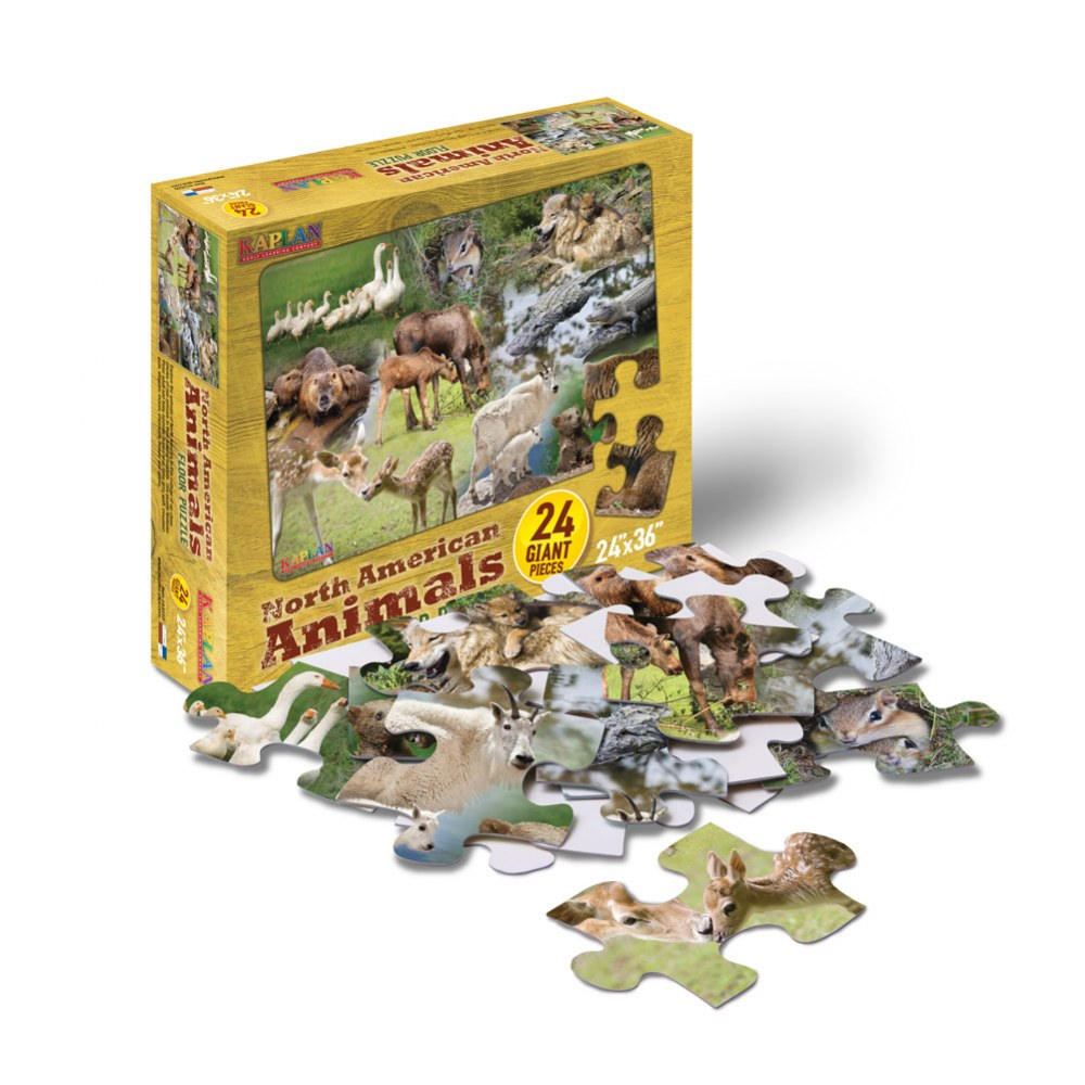 Alternate Image #1 of North American Animals Floor Puzzle - 24 Pieces