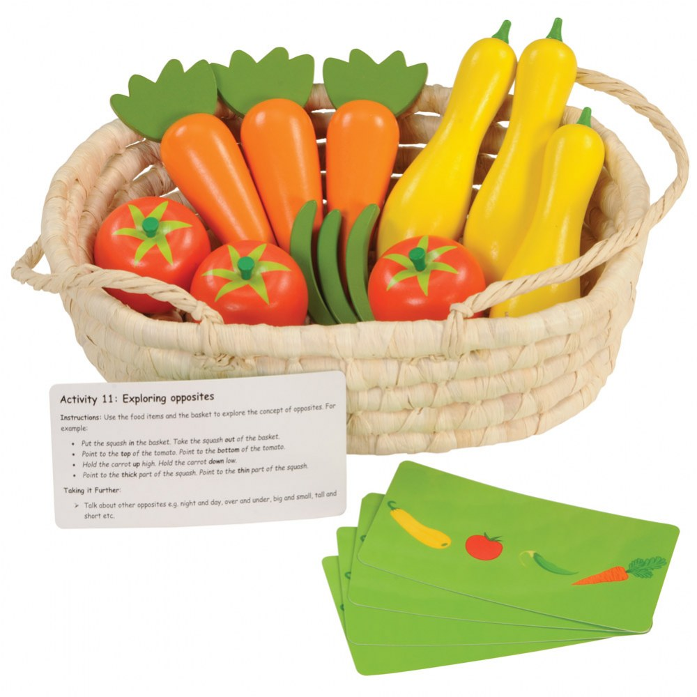 Harvest Basket Wooden Vegetables with Activity Cards