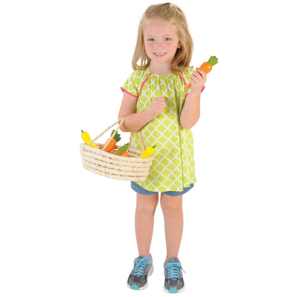 Alternate Image #1 of Harvest Basket Wooden Vegetables with Activity Cards