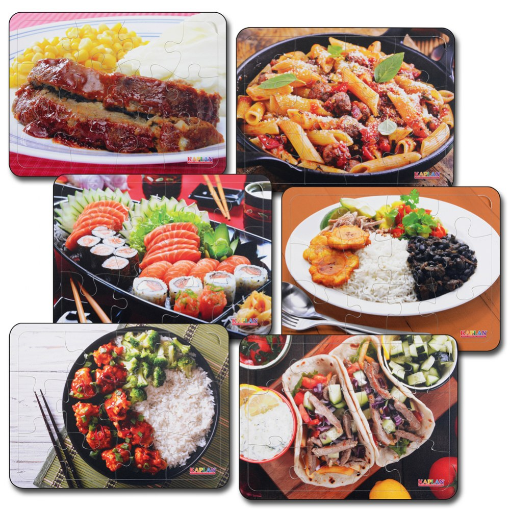 Real Image Cultural Food 12 Piece Puzzles - Set of 6