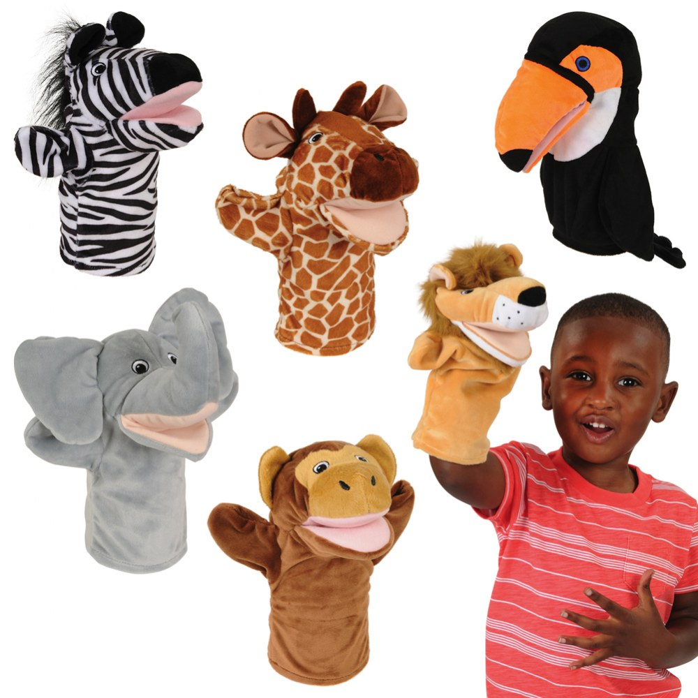 Safari Animal Puppets - Set of 6