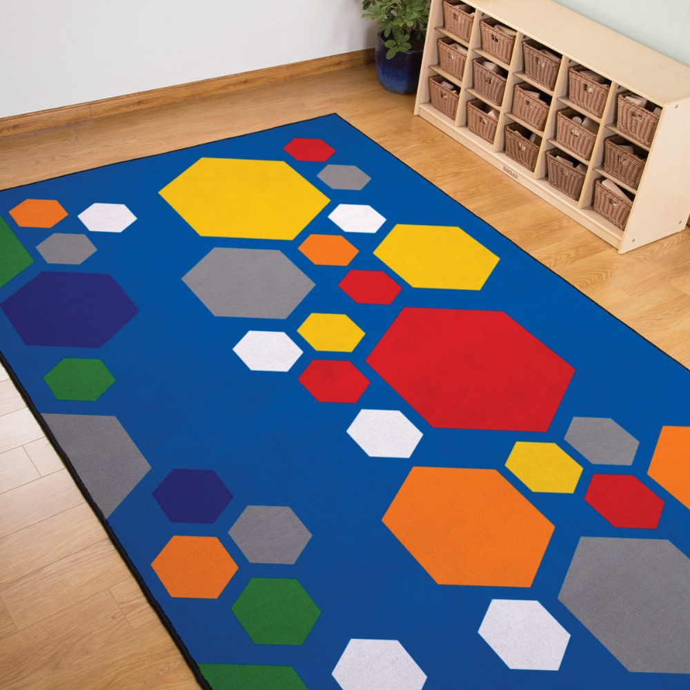 Alternate Image #1 of Primary Hexagon Carpet - 6' x 9'