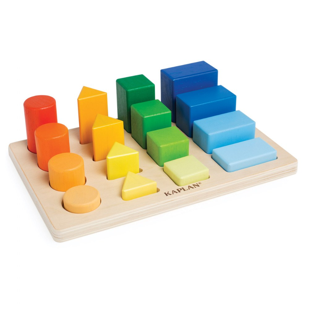 Wooden Toddler Colorful Shape and Height Sorter