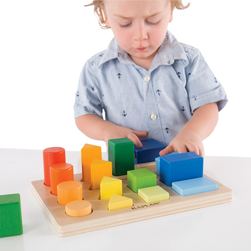 Alternate Image #1 of Wooden Toddler Colorful Shape and Height Sorter