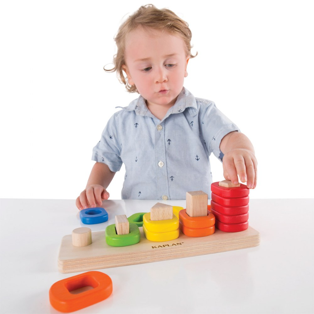 Alternate Image #1 of Toddler Shape Sorter, Stacker, and Geometric Puzzle