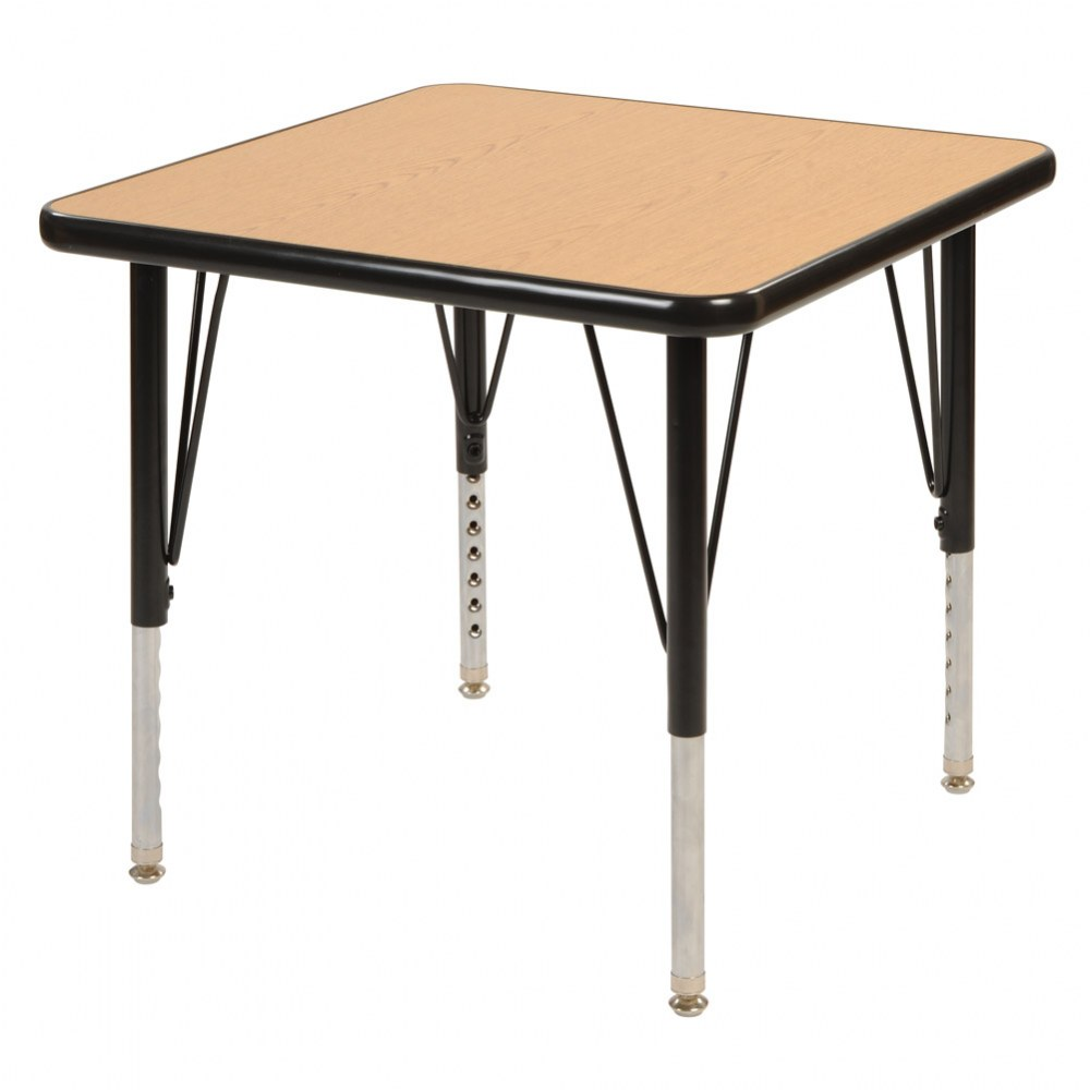 "24"" x 24"" Golden Oak Adjustable Square Table - Seats 4"