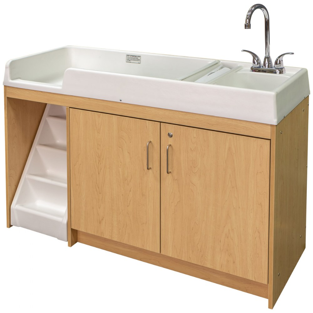 Alternate Image #1 of Walk Up Changing Table w/Right Sink/Left Stairs Natural