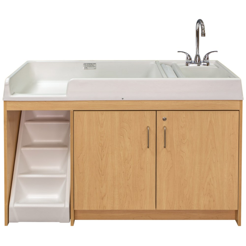 Alternate Image #2 of Walk Up Changing Table w/Right Sink/Left Stairs Natural