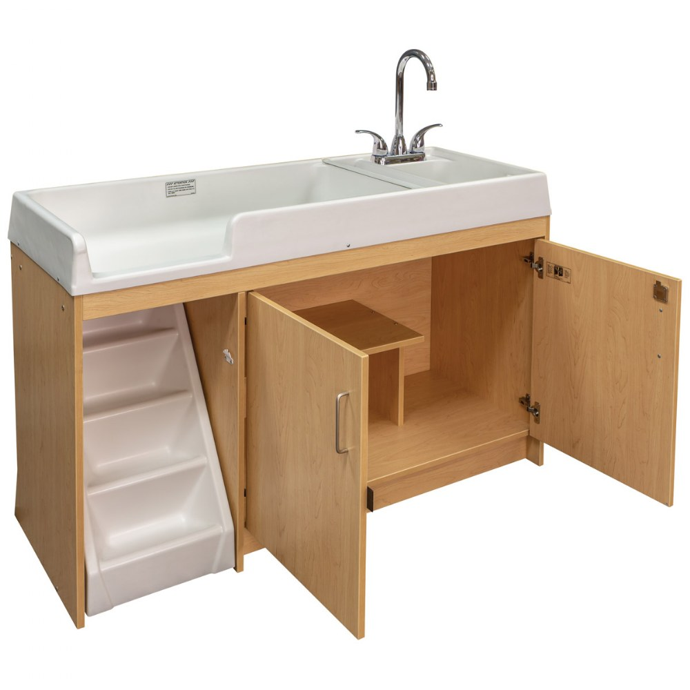 Alternate Image #3 of Walk Up Changing Table w/Right Sink/Left Stairs Natural