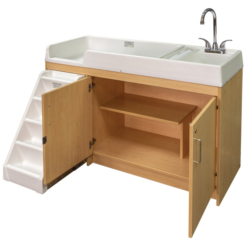 Alternate Image #4 of Walk Up Changing Table w/Right Sink/Left Stairs Natural