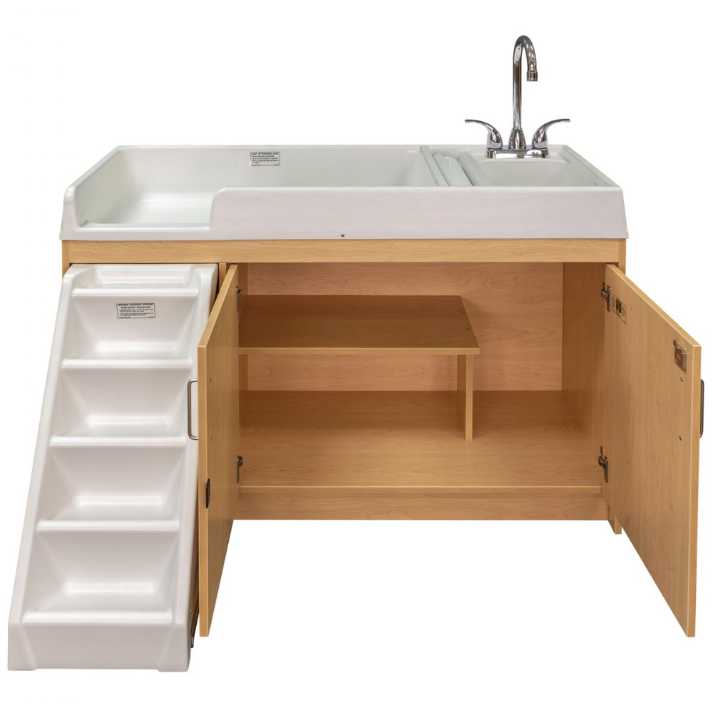 Alternate Image #5 of Walk Up Changing Table w/Right Sink/Left Stairs Natural
