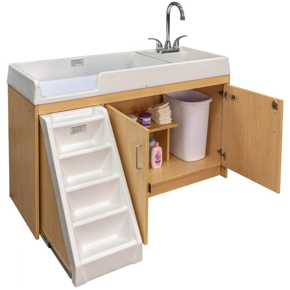 Alternate Image #6 of Walk Up Changing Table w/Right Sink/Left Stairs Natural