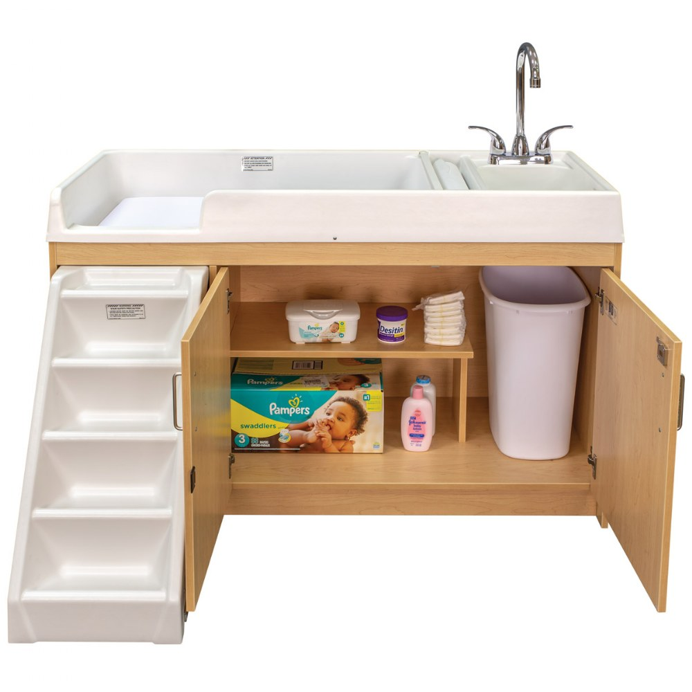Alternate Image #7 of Walk Up Changing Table w/Right Sink/Left Stairs Natural