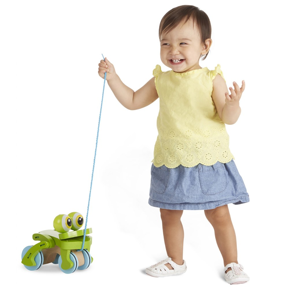 Alternate Image #1 of Frolicking Frog Pull Toy