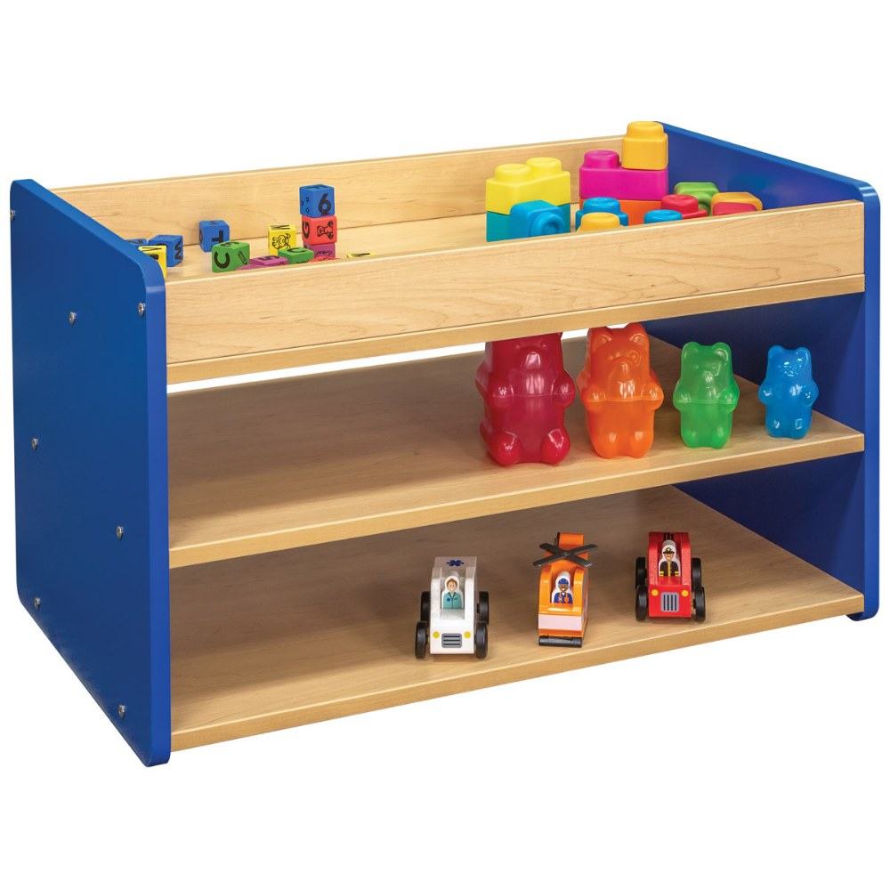 Alternate Image #3 of Toddler Pull Up 4 Bin Open Storage Center - Blue
