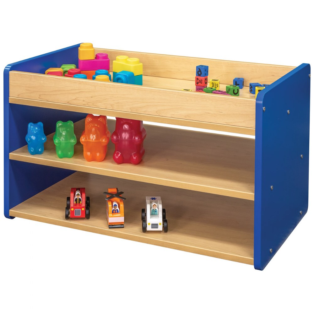 Alternate Image #4 of Toddler Pull Up 4 Bin Open Storage Center - Blue