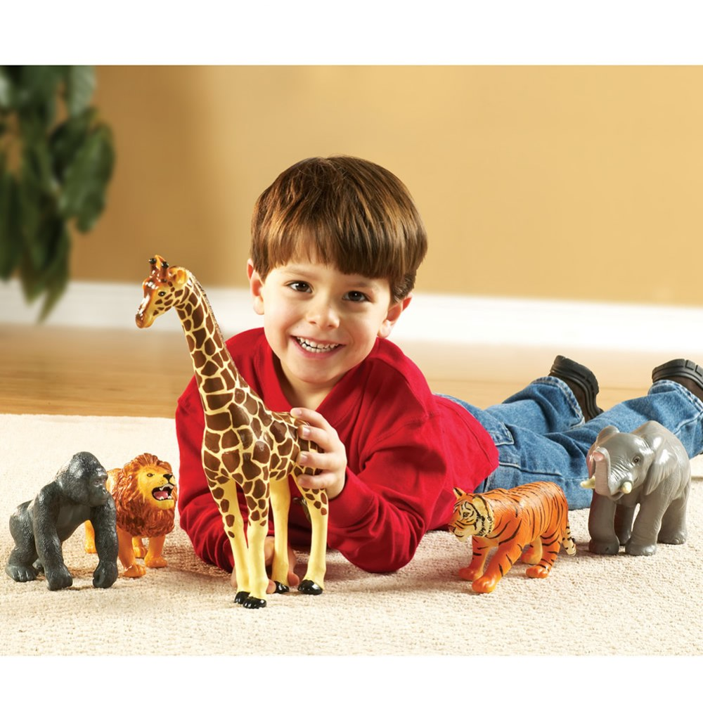 Alternate Image #1 of Realistic Looking Jumbo Jungle Animals for Imaginative Play - Set of 5