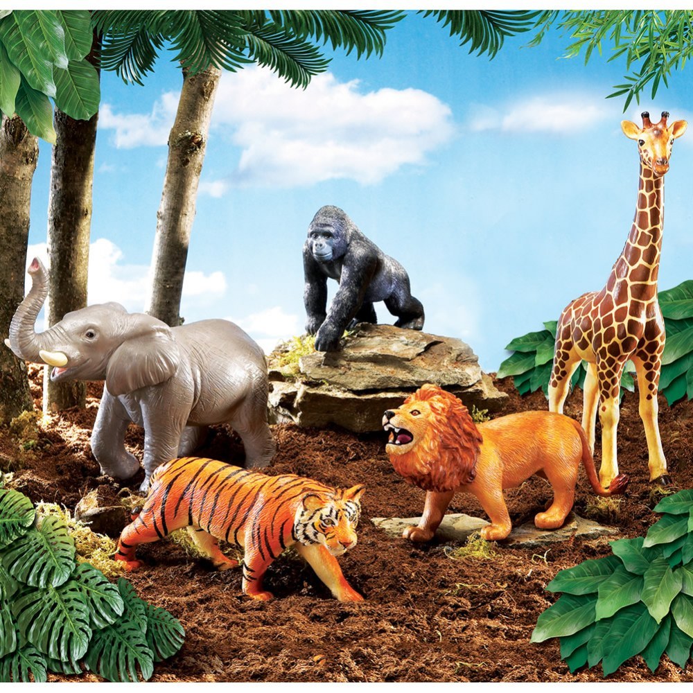 Alternate Image #2 of Realistic Looking Jumbo Jungle Animals for Imaginative Play - Set of 5