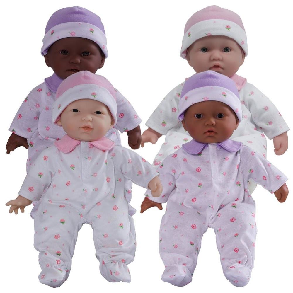 "11"" Soft Body Babies with Different Skin Tones - Set of 4"