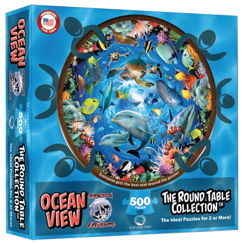 Alternate Image #1 of Round Table Puzzle - Ocean View (500 Pieces)