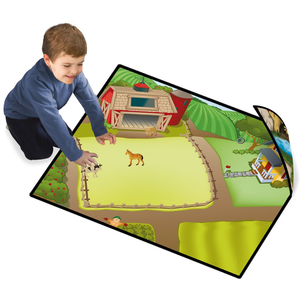 Alternate Image #1 of Zipbin Happy Farm & Dino Land Large Playmat - 2-Sided