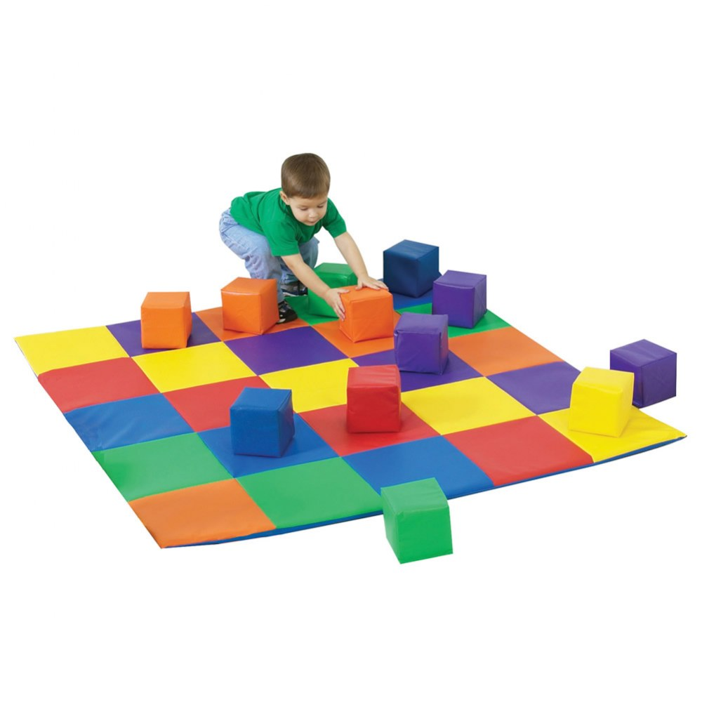 Patchwork Mat and Blocks Set - Primary Colors